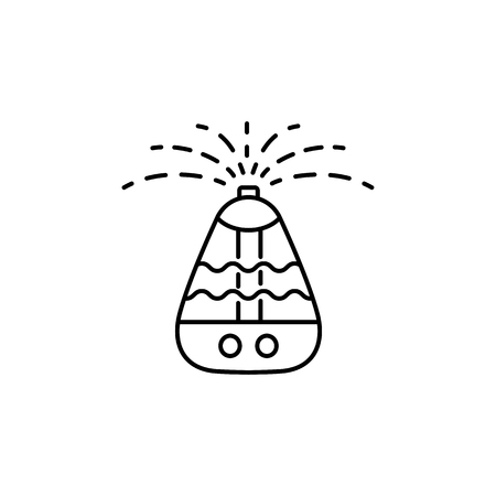 Vector illustration of portable air humidifier. Line icon of moisture regulation appliance. Climate equipment for home & office. Isolated object on white background.