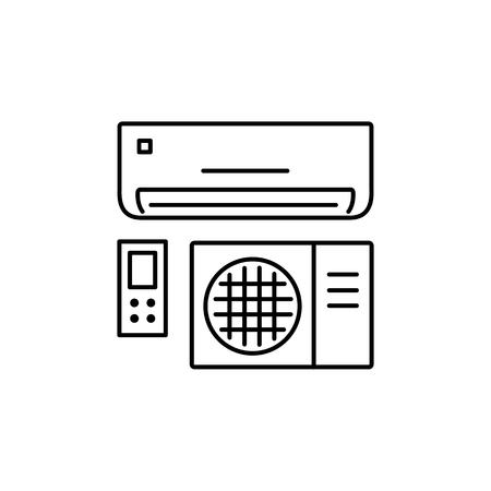 Vektorabbildung der Klimaanlage. Split-System mit Fernbedienung. Liniensymbol des Wärmeregulierungsgeräts. Klimaanlagen für Heim & Büro. Isoliertes Objekt auf weißem Hintergrund. Vektorgrafik