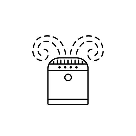 Illustrazione vettoriale di purificatore d'aria da scrivania. Icona della linea del filtro dell'aria. Attrezzatura climatica per casa e ufficio. Oggetto isolato su sfondo bianco. Vettoriali
