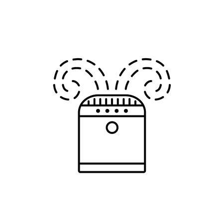 Vector illustration of desk air purifier. Line icon of air cleaner. Climate equipment for home & office. Isolated object on white background.  イラスト・ベクター素材