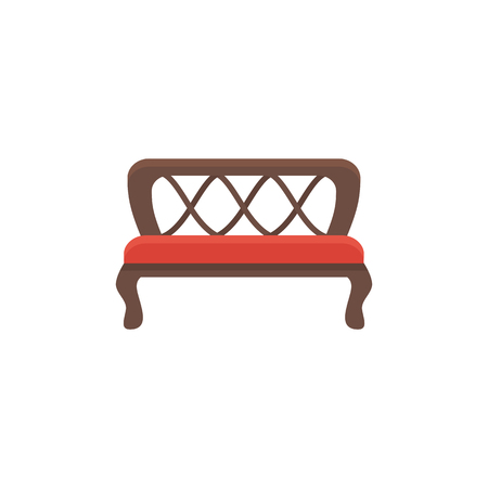 Red bench. Vector illustration. Flat icon of settee. Element of modern home & office furniture. Front view.