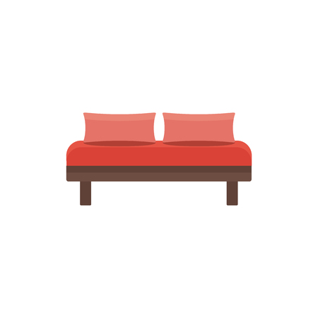Red daybed with 2 pillows. Comfortable sofa. Vector illustration. Flat icon of settee. Element of modern home & office furniture. Front view. Illustration