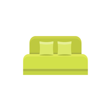 Green daybed with headboard 2 pillows. Comfortable sofa. Vector illustration. Flat icon of settee. Element of modern home & office furniture. Front view.