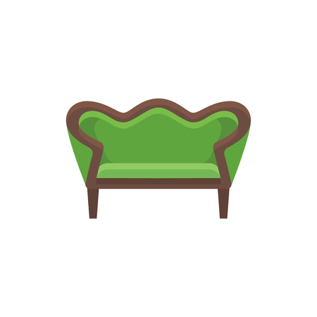 Green vintage loveseat. Double sofa. Vector illustration. Flat icon of settee. Element of retro home  furniture. Front view. Illustration