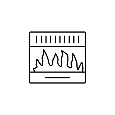 Vector illustration of gas fireplace. Line icon of modern stove. Isolated object on white background.