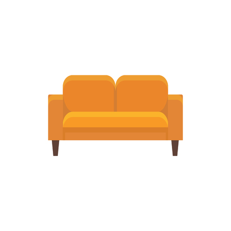 Orange loveseat. Double sofa. Vector illustration. Flat icon of settee. Element of modern home & office furniture. Front view. Vettoriali