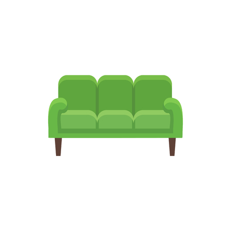 Green 3 seaters sofa. Vector illustration. Flat icon of settee. Element of traditional home & office furniture. Front view.