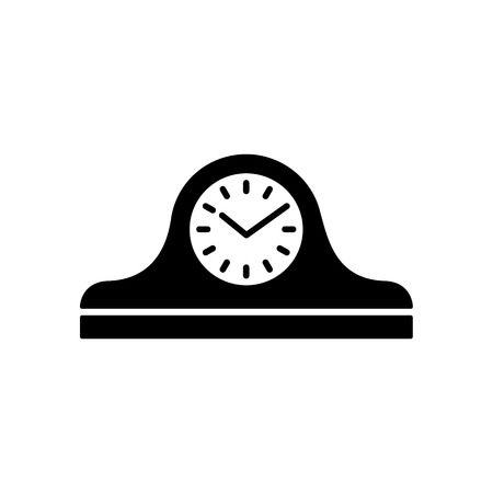 Vector illustration of vintage mantel desk clock. Flat icon of analog device for measuring time. Old shelf wooden clock. Isolated object on white background. Front view. Stockfoto - 110438058