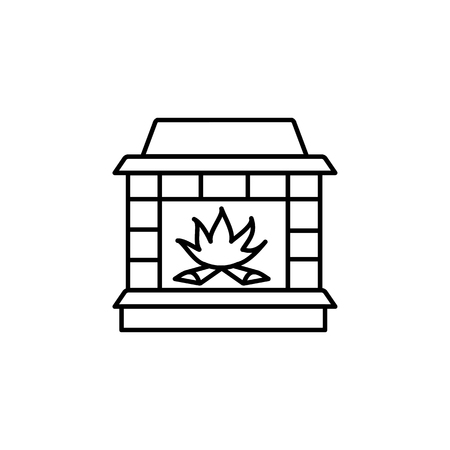 Vector illustration of wood burning fireplace. Line icon of stone stove. Isolated object on white background. Stock Illustratie
