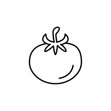 Black & white vector illustration of tomato vegetable. Line icon of fresh organic tomato veggie with leaves. Vegan & vegetarian food. Health eating ingredient. Isolated object on white background.