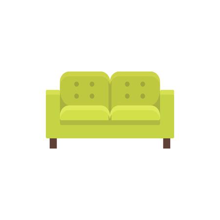Lawson bank. Vector illustratie. Platte icoon van groene getuft dubbele bank. Element van modern huis- en kantoormeubilair. Vooraanzicht.
