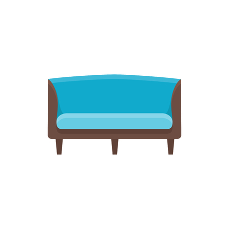 Blue wooden sofa. Vector illustration. Flat icon of settee. Element of modern home & office furniture. Front view.