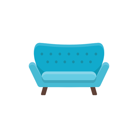Blue loveseat. Double sofa. Vector illustration. Flat icon of settee. Element of modern home & office furniture. Front view.