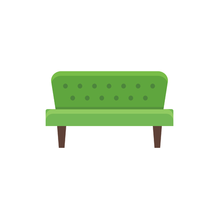 Green futon. Vector illustration. Flat icon of sofa. Element of modern home & office furniture. Front view. Illustration
