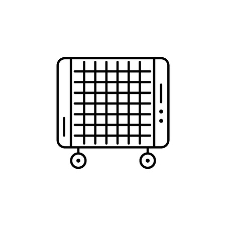 Vector illustration of portable micathermic heater. Line icon. Isolated object on white background. Illustration
