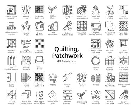 Acolchado y patchwork. Suministros y accesorios para coser edredones de cuadrados y bloques de tela. Diferentes herramientas, patrones para quilters. Conjunto de iconos de línea de vector. Objetos aislados sobre fondo blanco. Ilustración de vector