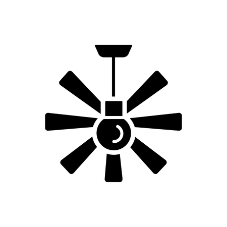 Vector illustration of ceiling fan. Flat icon of modern light fixture & ventilator. Home & office lighting. Isolated object on white background.