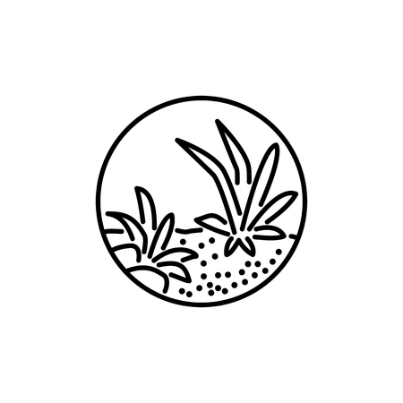 Black & white vector illustration of round terrarium with plants & stones. Decorative succulent home plants in glass container. Line icon. Isolated object on white background.