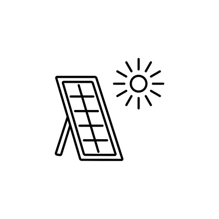 Vectorillustratie van thermisch zonnepaneel. Huis verwarmingssysteem. Lijn pictogram geïsoleerd op een witte achtergrond. Vector Illustratie