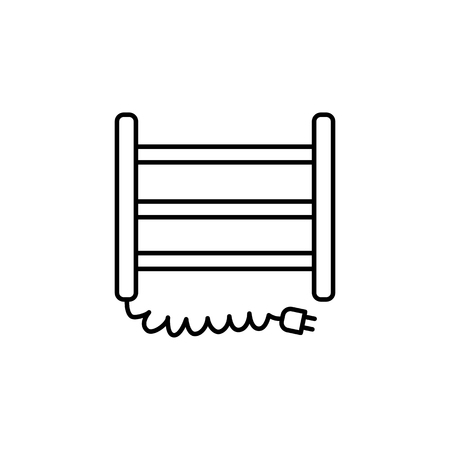Vector illustration of electric towel dryer. Line icon of house heater. Isolated object on white background.