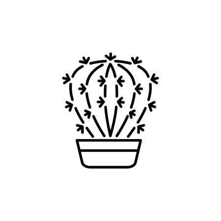Black & white vector illustration of cactus in pot. Decorative home plant in containers. Line icon of indoor desert plant. Isolated object on white background.