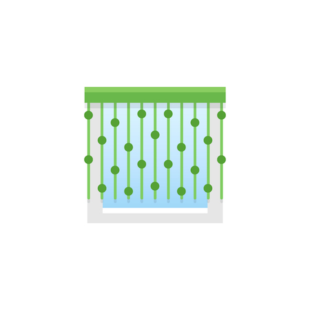 Green thread curtain with beads. Vector illustration. Flat icon of string shade. Element of home & office window decoration. Front view.