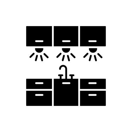 Illustrazione vettoriale di illuminazione dell'armadio. Icona piana della luce dell'area di lavoro della cucina. Oggetto isolato su sfondo bianco. Vettoriali