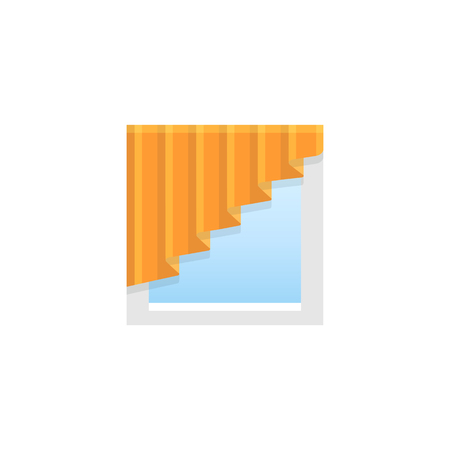 Orange fabric cascade valance. Vector illustration. Flat icon of pelmet. Element of home & office top window decoration. Front view.