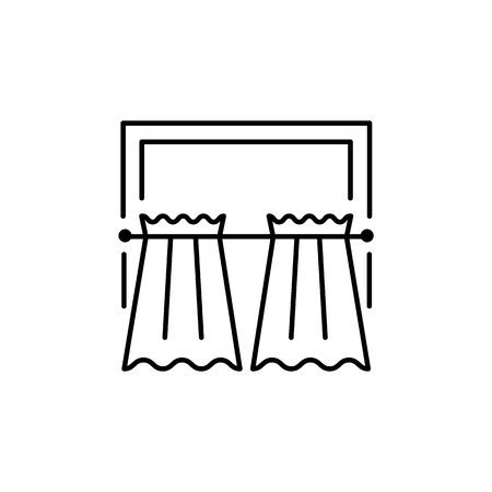 Vector illustration of fabric curtains with drapery. Line icon of cafe style shade. Element of home & restaurant window decoration. Isolated object on white background
