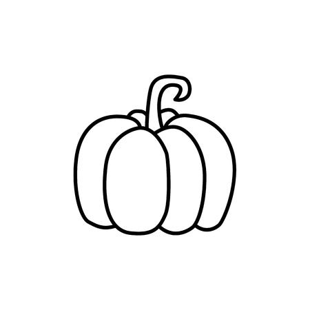 Black & white vector illustration of pumpkin vegetable. Line icon of fresh organic winter squash veggie. Vegan & vegetarian food. Health eating ingredient. Isolated object on white background.