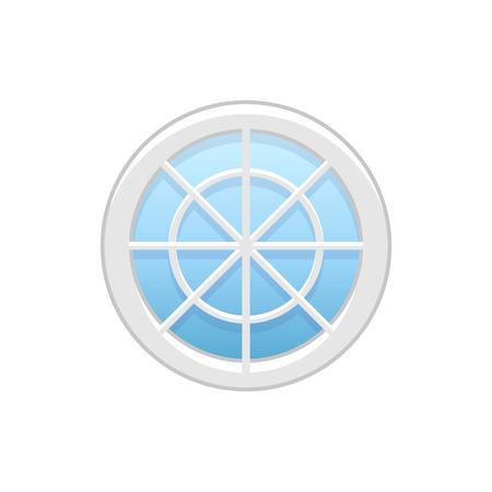 Illustration vectorielle de fenêtre de roue de vinyle grenier rond. Icône plate de fenêtre circulaire traditionnelle en aluminium avec barres radiales pour mansarde et mansarde. Objet isolé sur fond blanc.