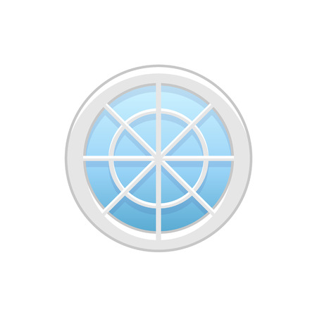 Vector illustration of round attic vinyl wheel window. Flat icon of traditional aluminum circular window with radial bars for mansard & garret. Isolated object on white background.