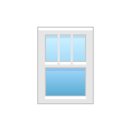 Vector illustration of vinyl single-hung window. Flat icon of traditional aluminum sash window with vertical bars on top panel. Isolated object on white background.