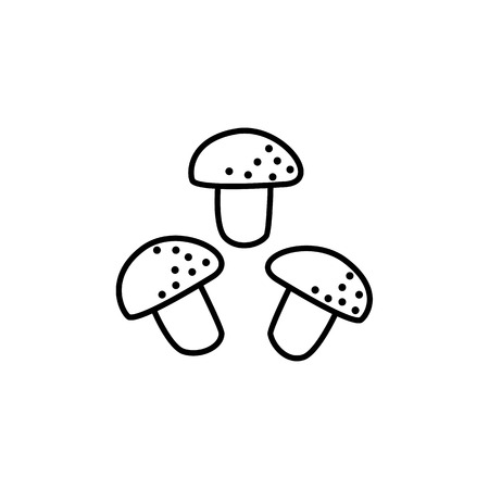 Black & white vector illustration of white table mushrooms. Line icon of fresh common or button mushrooms. Vegan & vegetarian food. Health eating ingredient. Isolated object on white background.