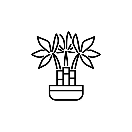 Black & white vector illustration of bamboo with leaves in pot. Decorative dracaena plant in container. Line icon of indoor green foliage plant. Isolated object on white background. Illustration