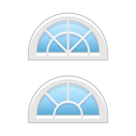 Vector illustration of half round attic vinyl windows. Flat icon of traditional aluminum fanlight windows with radial bars for garrets & doorways. Isolated objects on white background.