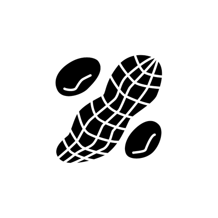 Black & white vector illustration of peanut with nutshell. Flat icon of whole groundnut & seeds. Vegan & vegetarian food. Health eating ingredient. Isolated object on white background. Illustration