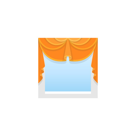 Orange fabric valance with 2 asymmetric swags. Vector illustration. Flat icon of pelmet. Element of home & office window decoration. Front view. Vetores