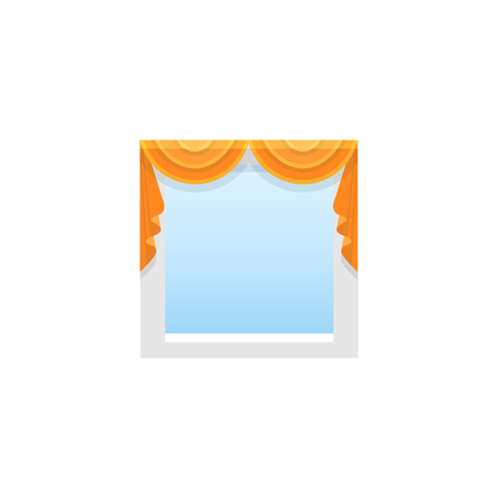 Orange fabric curtain with 2 swags. Vector illustration. Flat icon of shade. Element of home & office window decoration.