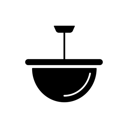 Vector illustration of modern ceiling lamp. Flat icon of bowl pendant light. Simple chandelier for kitchen or hallway. Home & office lighting. Isolated object on white background.