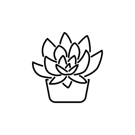 Black & white vector illustration of succulent in pot. Decorative home plant in containers. Line icon of indoor desert plant. Potted houseplant. Isolated object on white background.  イラスト・ベクター素材