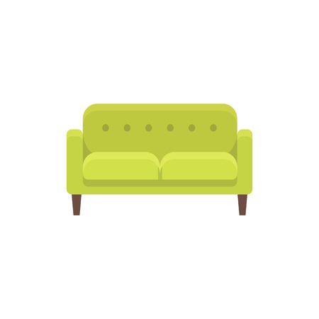 Green loveseat. Double sofa. Vector illustration. Flat icon of settee. Element of modern home & office furniture. Front view.