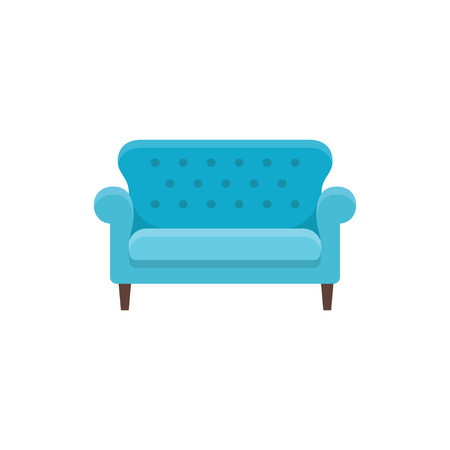 Blue bridgewater sofa. Vector illustration. Flat icon of settee. Element of modern home & office furniture. Front view.