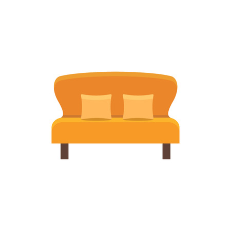Orange loveseat with 2 pillows. Double sofa. Vector illustration. Flat icon of settee. Element of modern home & office furniture. Front view.