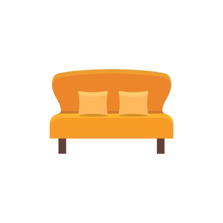 Oranje fauteuil met 2 kussens. Dubbele bank. Vector illustratie. Platte icoon van de bank. Element van modern huis & kantoormeubilair. Vooraanzicht.