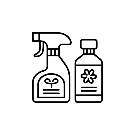 Black & white vector illustration of plant doctor & food sprays. Flower care in the bottles. Line icon of fertilizer for home plants. Isolated object on white background.