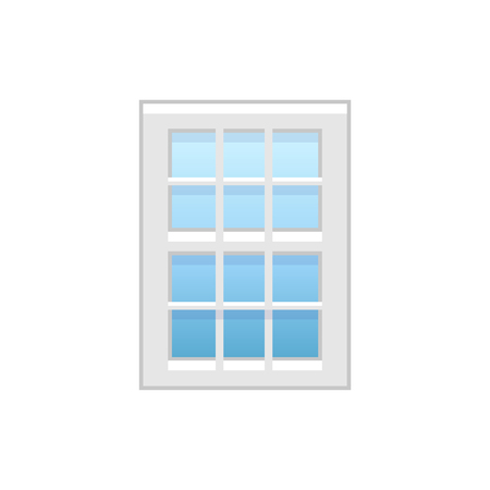Vector illustration of vinyl single-hung window. Flat icon of traditional aluminum sash window with vertical & horizontal bars on both panels. Isolated object on white background.
