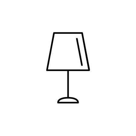 Vector illustration of table lamp. Line icon of light fixture. Home & office lighting element. Isolated object on white background. Stock Illustratie