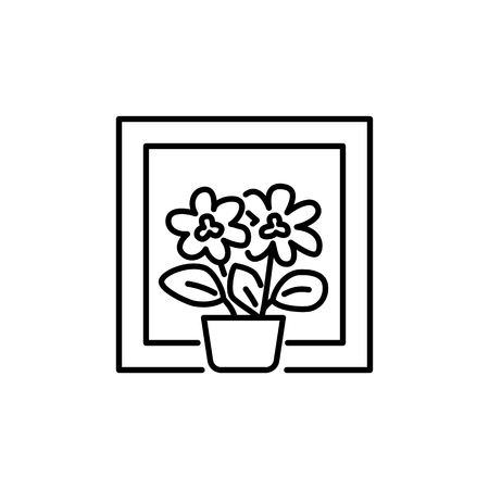 Black & white vector illustration of flowering houseplant with flowers and leaves in pot. Line icon of decorative home plant in container on the window. Isolated object on white background.