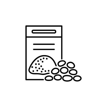 Black & white vector illustration of potting soil & mulch. Line icon of compost pack and perlite granules for home plants. Isolated object on white background.